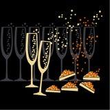 Champagne e siluetta del caviale Fotografia Stock