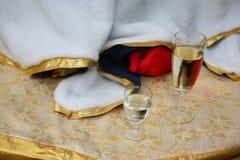Champagne e vodka nei vetri sulla tavola decorata per un partito di divertimento Fotografia Stock Libera da Diritti