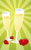 Champagne ed illustrazione delle fragole Immagini Stock
