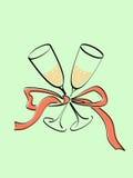 Champagne em dois vidros Fotos de Stock