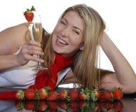 Champagne en aardbeien Royalty-vrije Stock Foto's