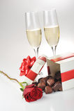 Champagne en chocolade stock afbeelding
