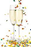 Champagne en confettien Stock Afbeeldingen