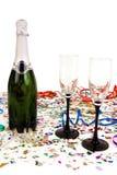 Champagne en confettien Royalty-vrije Stock Fotografie