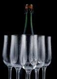 Champagne en glazen stock fotografie