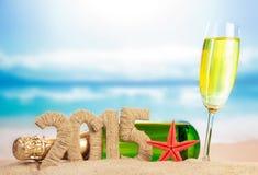 Champagne en Nieuw jaarteken Stock Afbeelding