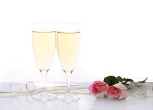 Champagne en Rozen Stock Fotografie