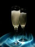 Champagne en Satijn royalty-vrije stock foto