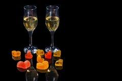 Champagne en snoepjes Royalty-vrije Stock Afbeelding
