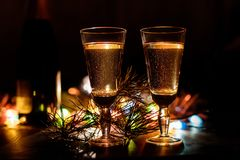 Champagne en verres Photo libre de droits
