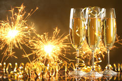 Champagne en vuurwerk Royalty-vrije Stock Foto