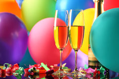 Champagne et ballons Images stock