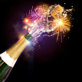 Champagne et célébrations de feux d'artifice Image stock