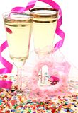 Champagne et coeur Image stock