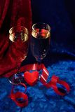 Champagne et coeur Images libres de droits