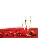 Champagne et coeurs Images stock
