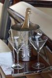 Champagne et deux glaces Image libre de droits