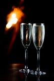 Champagne et feux d'artifice Photographie stock