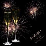 Champagne et feux d'artifice Image stock