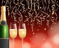 Champagne et fond de confettis Photographie stock
