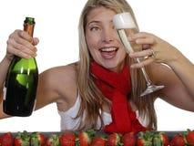 Champagne et fraises Photographie stock libre de droits