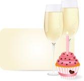Champagne et gâteau illustration de vecteur