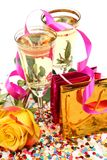 Champagne et roses Photographie stock