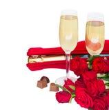 Champagne et roses de Saint-Valentin Photo libre de droits