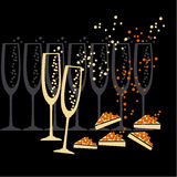 Champagne et silhouette de caviar Photo stock