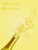 Champagne explosion. In yellow background stock illustration
