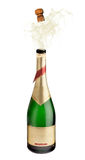 Champagne Explosion. Bottle of champagne explosion on white Royalty Free Stock Images