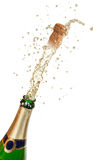 Champagne explosion. Isolated on white background Royalty Free Stock Photography