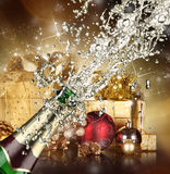 Champagne explosion. Close up of champagne explosion Royalty Free Stock Photo