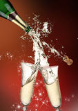 Champagne explosion. Close up of champagne explosion Stock Photo