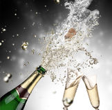 Champagne explosion. Close-up of champagne explosion Stock Photography