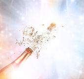 Champagne explosion. Close-up of champagne explosion Stock Photos