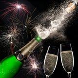 Champagne explosion on black background. Celebration theme Stock Image