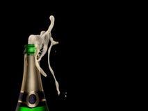 Champagne explosion on black background. Celebration theme Royalty Free Stock Photo