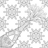 Champagne explosion bottle on snowflakes. Zentangle style. Freehand sketch for adult coloring page, greeting card Happy 2017 New Year. Ornament artistic vector Stock Photo