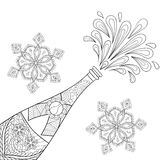 Champagne explosion bottle, snowflakes in zentangle style.. Freehand sketch for adult coloring page, greeting card, poster. Artistic vector illustration for Royalty Free Stock Photography