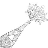 Champagne explosion bottle,zentangle style. Freehand sketch for adult coloring page, greeting card, poster. Ornamental artistic vector illustration for tattoo Royalty Free Stock Image