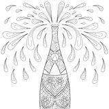 Champagne explosion bottle, zentangle style. Freehand sketch. For adult coloring page, greeting Happy 2017 New Year, poster. Ornamental artistic vector Stock Photography
