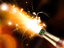 Champagne explosion. Close-up of champagne explosion. Celebration theme Royalty Free Stock Images