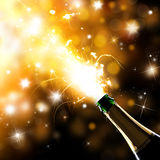 Champagne explosion. Close-up of champagne explosion. Celebration theme Royalty Free Stock Image