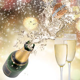 Champagne explosion. Close-up of champagne explosion. Celebration theme Royalty Free Stock Photography