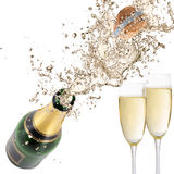 Champagne explosion. Close-up of champagne explosion. Celebration theme Stock Photography