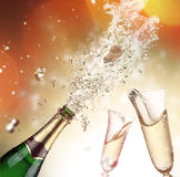 Champagne explosion. Close-up of champagne explosion. Celebration theme Stock Images