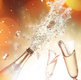 Champagne explosion. Close-up of champagne explosion. Celebration theme Royalty Free Stock Photo