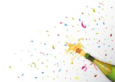 Champagne explosion with ribbon and confetti Royalty Free Stock Images