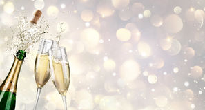 Champagne Explosion With Toast Of Flutes. For New Year stock photos